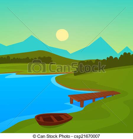 Boat On Lake Clipart by Vector Clipart Of Lake Dock Summer Landscape On The Lake