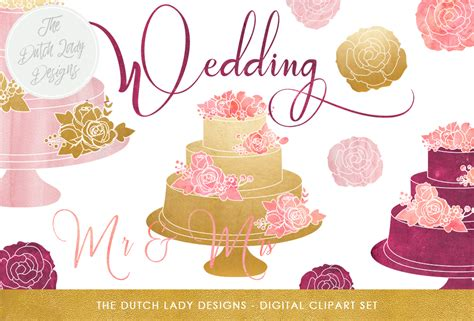 wedding cake clipart set  pink purple gold graphic