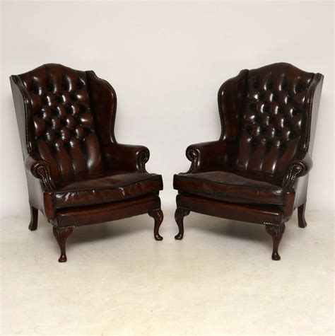 leather recliners antique pair of leather wing back armchairs c 1920 la89145 3700