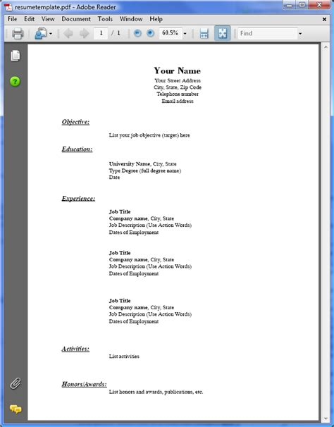 free pdf resume templates search results for simple format of resume calendar 2015