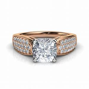 Wide band cushion cut cathedral engagement ring in 14k for Cushion cut engagement rings with wedding band
