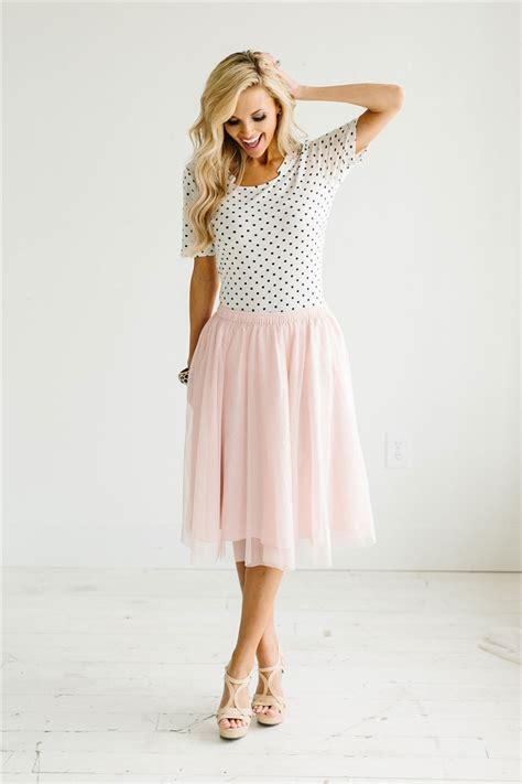 Light Pink Tulle Cute Modest Skirt Spring Dresses