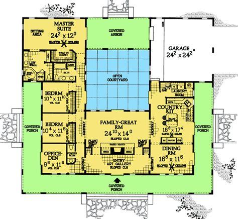 courtyard home floor plans plan w81383w central courtyard home plan e