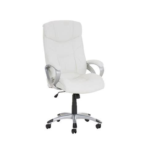 fauteuil chaise de bureau ergonomique simili cuir blanc bur10016 d 233 coshop26