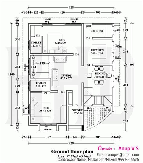 home design plan proposed house of mr anup in kerala kerala home design and floor plans