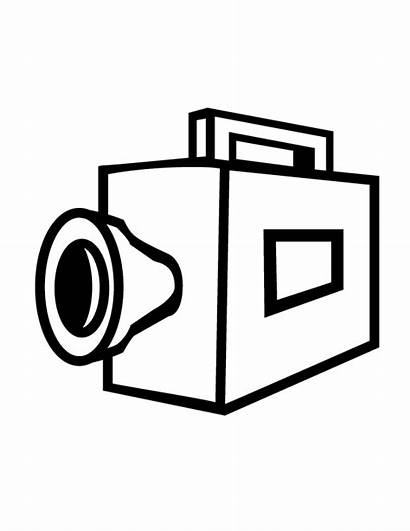 Camera Coloring Pages Drawing Cliparts Web Simple