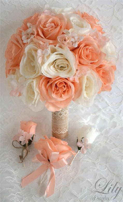 17 Piece Package Silk Flower Wedding Bridal Bouquet Peach