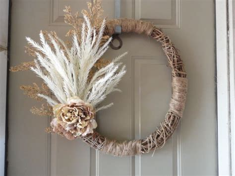 Neutral, Natural Color Wreath. Handmade Cat Claw Vine
