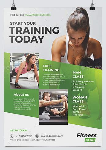 fitness business flyers  gym marketing hollymolly