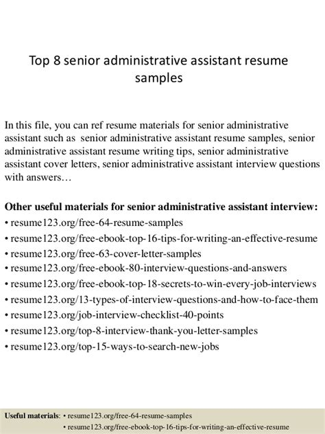 Senior Administrative Assistant Resume by Top 8 Senior Administrative Assistant Resume Sles