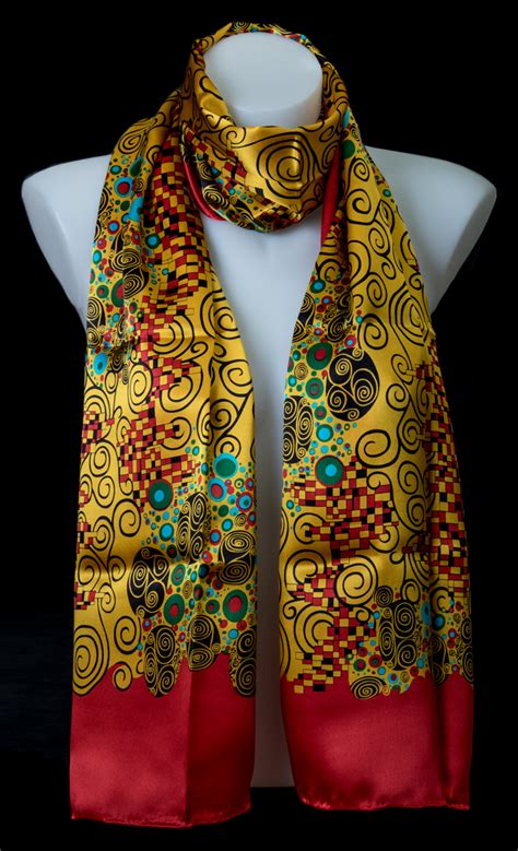 gustav klimt scarf art nouveau red    cm