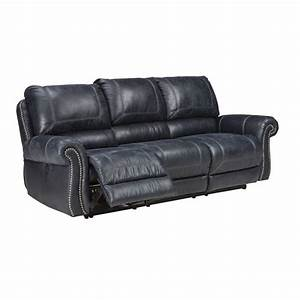 ashley milhaven power reclining faux leather sofa in navy With faux leather sectional sofa ashley