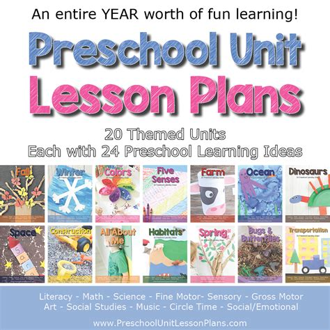a year of preschool lesson plans bundle where 968 | Preschool Unit Lesson Plans themes fb