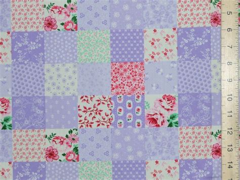 printed patchwork pure cotton fabric lilac