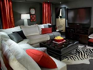 Candice olson living rooms contemporary basement for Black and red living room decor