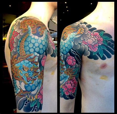 foo dog shishi   dragon tattoo  work japanese sleeve tattoos tattoos sleeve tattoos