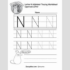Uppercase Letter N Tracing Worksheet  Doozy Moo