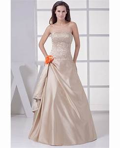 strapless embroidered champagne color wedding dress with With color embroidered wedding dress