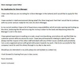 Store Manager Cover Letter Exles Store Manager Cover Letter Exle Icover Org Uk
