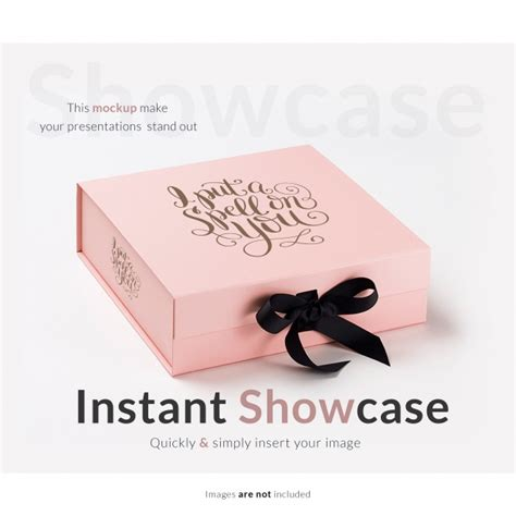 Square gift box free mockup to showcase your box design in a photorealistic style. Free PSD | Pink gift box mock up