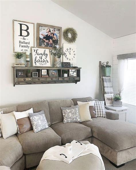 Its walls are painted white, and the floor is set in greyish hardwood. 75 Best Farmhouse Wall Decor Ideas for Living Room (4) #shabbychicideasdiy | Farmhouse decor ...