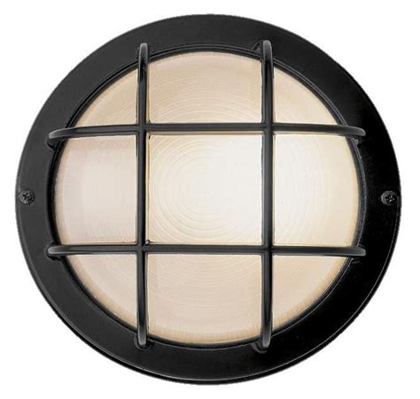 nauticus 7 quot wide round black outdoor wall light 59682