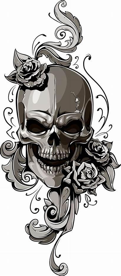 Skull Tattoo Transparent Human Flowers Symbolism Clipart