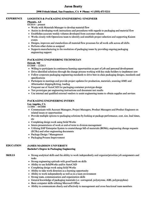 Resume For Packaging by Packaging Engineering Resume Sles Velvet