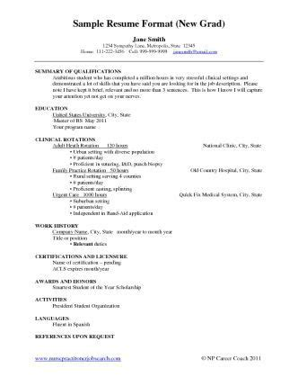 grad nursing resume sample  grads cachedapr list