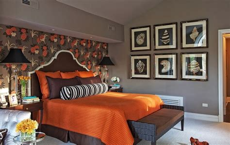 gray and orange bedroom تزيين غرف النوم 2017 2018 ديكور اثاث تصميم 15446