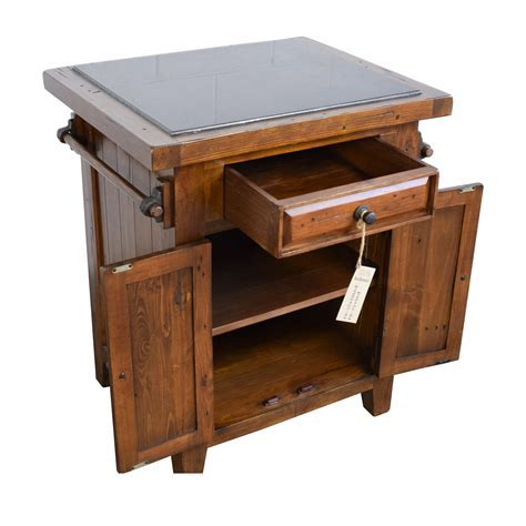 65% OFF   Wood Kitchen Island with Black Marble Top / Tables