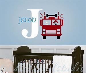 fire truck wall decal kids personalized by toodlesdecalstudio With awesome fire truck wall decals