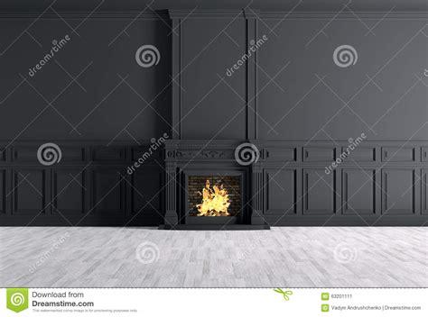 empty classic interior   room  fireplace  black wall stock illustration image