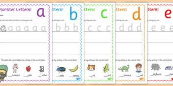 cursive monster themed letter formation worksheets
