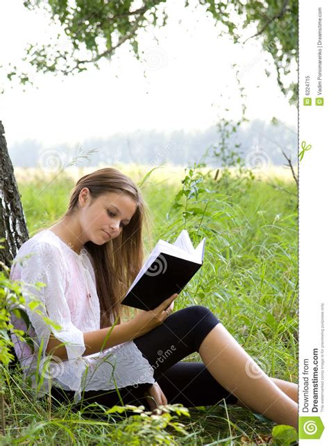 Young Girl Reading Book In Park Royalty Free Stock Photo  Image 6224715
