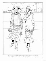 Coloring Pages Adult Roaring Twenties Books Street Historical Sheets Wear Fashions Colouring 1927 Printable Clothing 1950s Story Dover Uploaded User sketch template