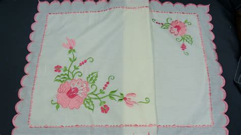 Vintage Hand Made Pillowcase Embroidered Pink Flowers