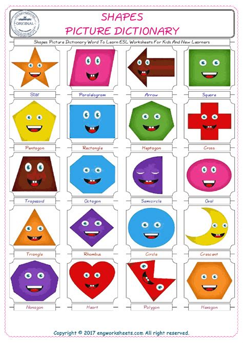 shapes picture dictionary word to learn esl worksheets for