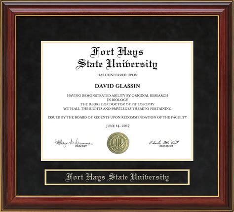fort hays state fhsu mahogany diploma frame