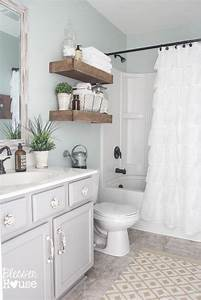 modern farmhouse bathroom makeover reveal With what kind of paint to use on kitchen cabinets for wall art for little girl room