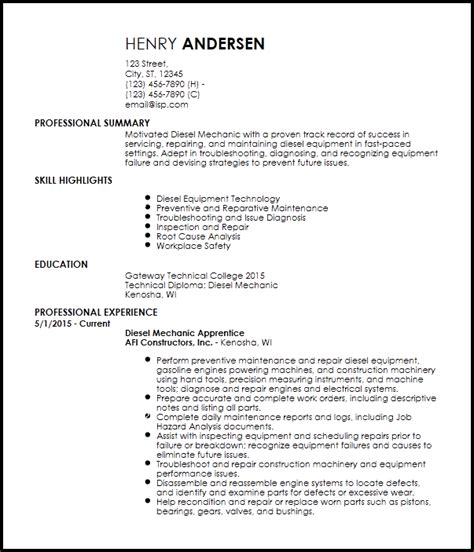 Mechanic Resume Template by Free Entry Level Diesel Mechanic Resume Templates Resume Now