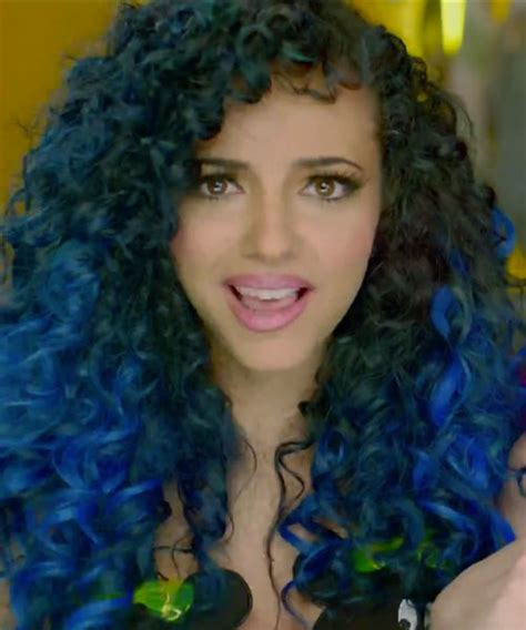 Jade Thirlwall Curly Black Blue Dip Dyed Two Tone