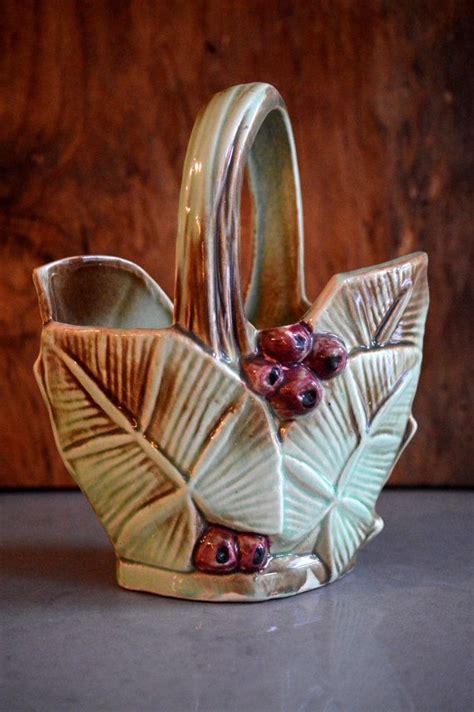 etsy  vintage mccoy pottery basket vase leaf  berry