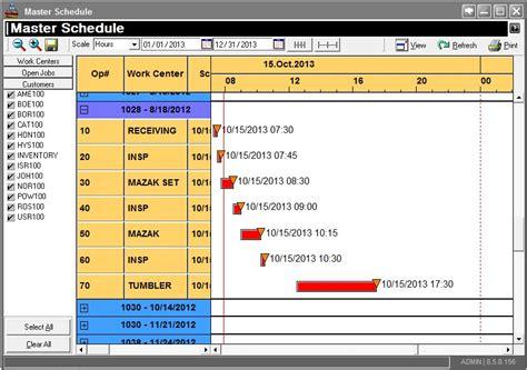 master schedule manufacturing erp software gantt chartjpg
