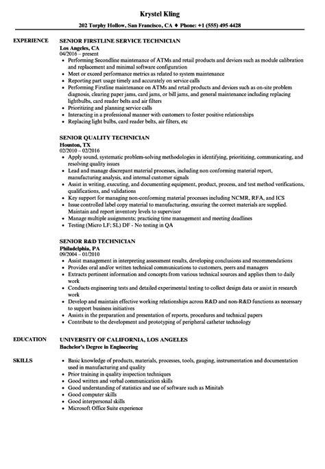 Quality Technician Resume Sle by Technician Senior Technician Resume Sles Velvet