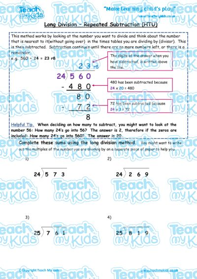 division worksheets htu by u division repeated subtraction htu teach my