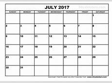 July 2017 Calendar Template calendar printable free