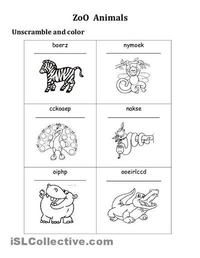 zoo printable worksheet hd docx  zip
