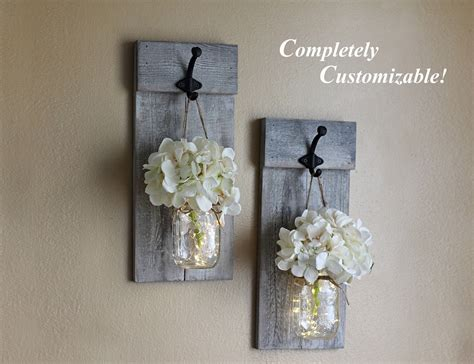 Distressed Wall Sconce Set Mason Jar Wall Sconces Rustic