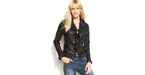 Inc International Concepts Ruffled Faux Leather Jacket In
